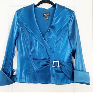 Xscape Blue Blouse with French Cuff